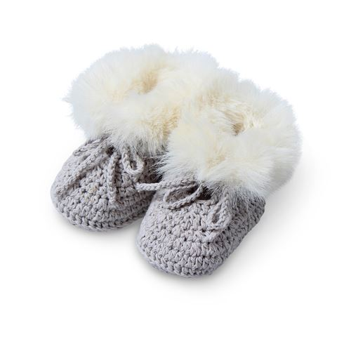 Pookie Faux Fur Hand Crochet Cotton Bootees - Grey by D-Lux