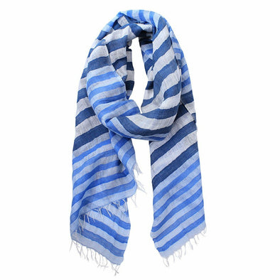 Ariana Hand Woven Stripes Cotton Linen Scarf