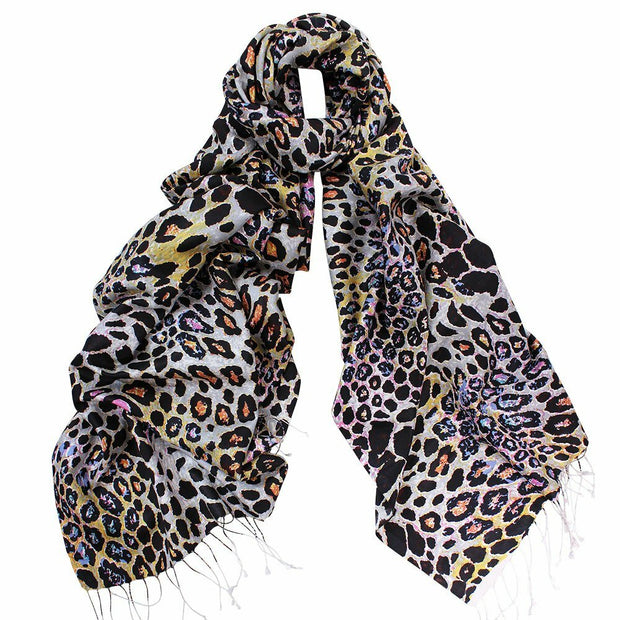 Dlux Cougar Silk Twill Animal Print Wrap