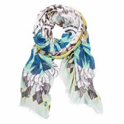 Feather Digital Print Large Scarf - Seagreen