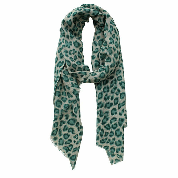 Animal Print Wool Silk Scarf - Forest