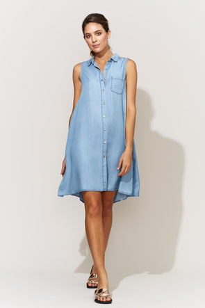 Avante Sleeveless Shirt Dress in colour Denim