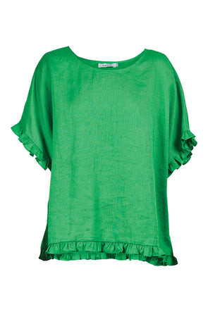 Eb & Ive Martinique Frill Top - Jade - One Size