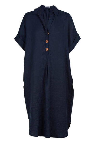 Martinique Shirt Dress - Navy - One Size