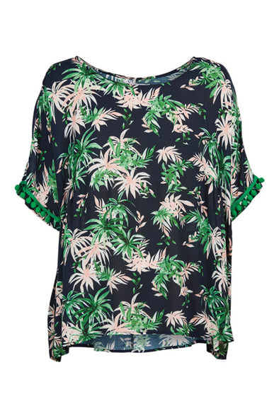 Eb & Ive Sardinia Top - Indigo Palm - Medium/Large