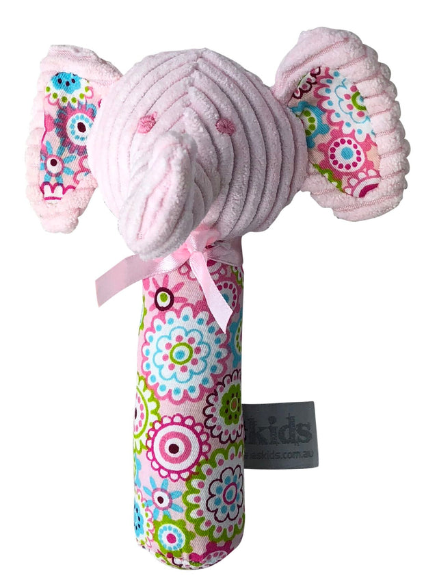 ES Kids Elephant Rattle Stick - Pink