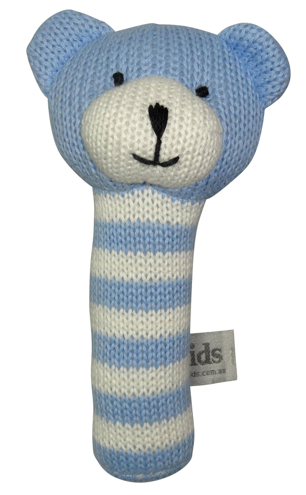 ES Kids Knitted Bear Rattle Stick - Blue
