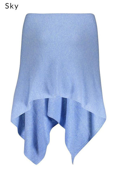 100% Cashmere Classic Topper in colour sky blue