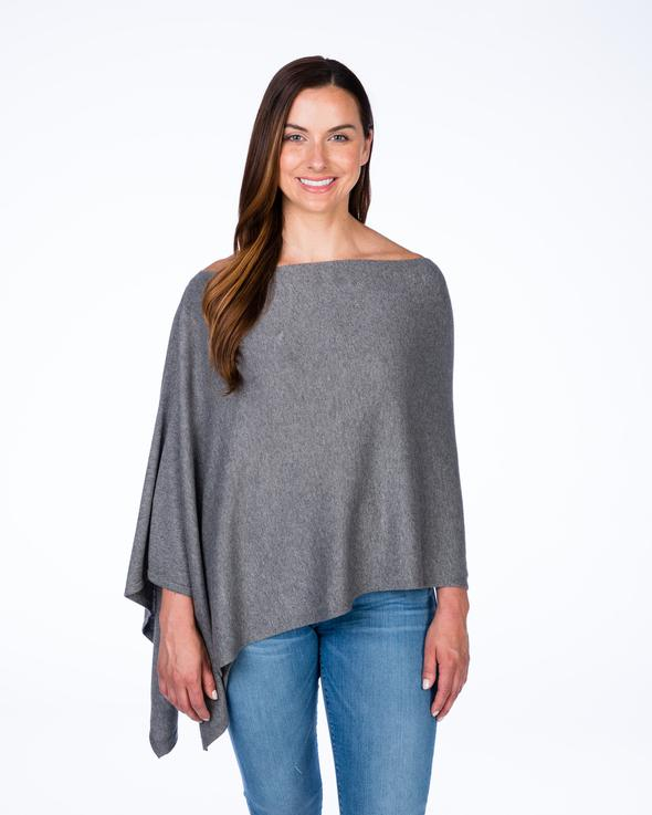 Cotton and Cashmere Trade Wind Classic Topper in colour steel