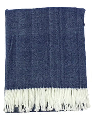 The Adirondack Herringbone Woven Throw - Harbour Blue