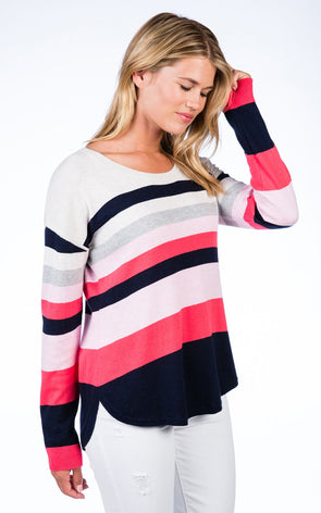 Pink Combo Cotton Cashmere Banded Curve Bottom Pullover - Medium