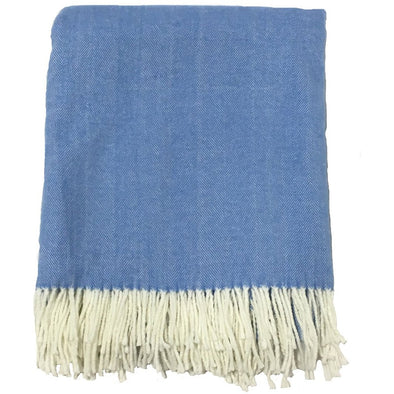 The Adirondack Herringbone Woven Throw - Carolina Blue