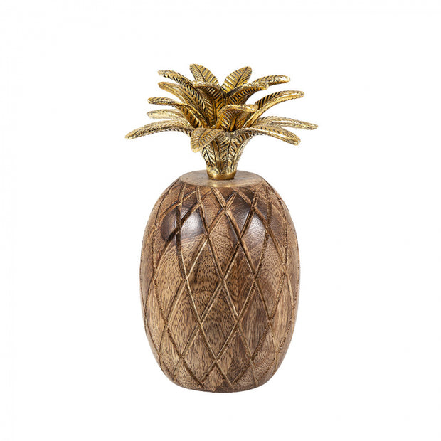 Wooden Pineapple with Gold Leaf Crown