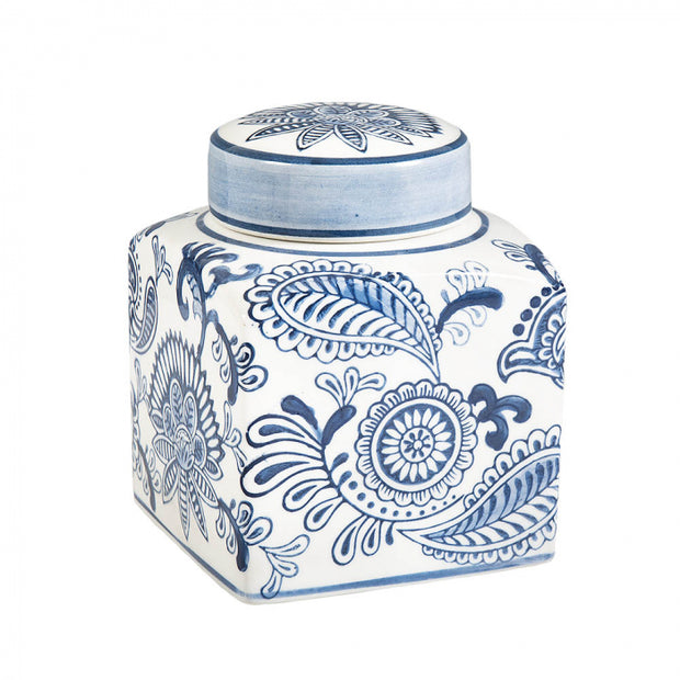 Blue and White Paisley Square Jar
