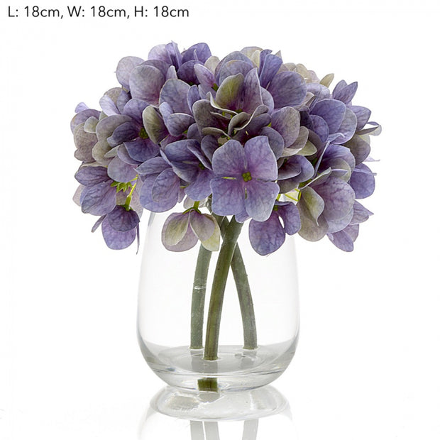 Artificial Hydrangea in Glass Vase