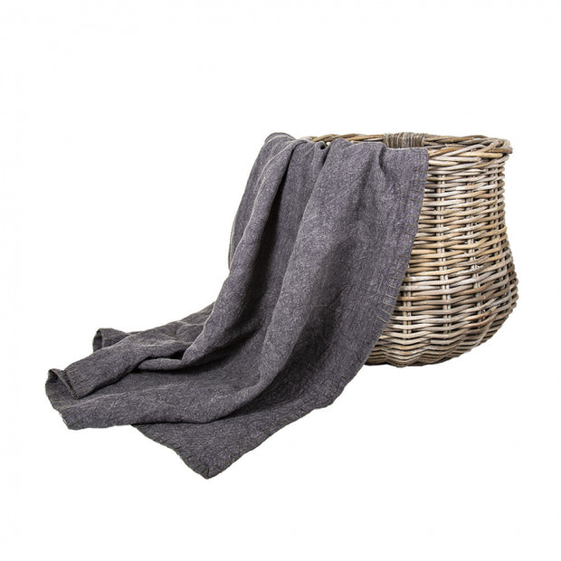 Edged Linen Throw - Charcoal