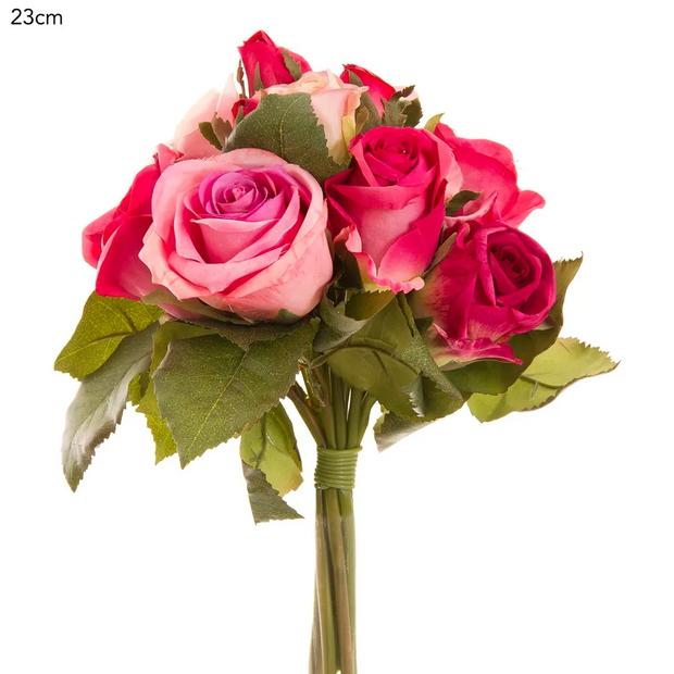 3 Tone Pink Rose Bouquet - 23cm
