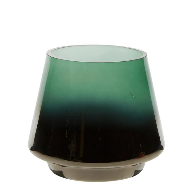 Drop Silvered Glass Tealight - Emerald