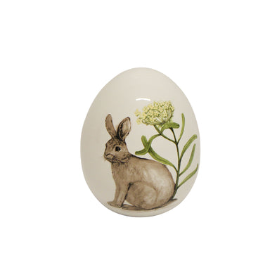 Small Rabbit with Flowers Ceramic Egg