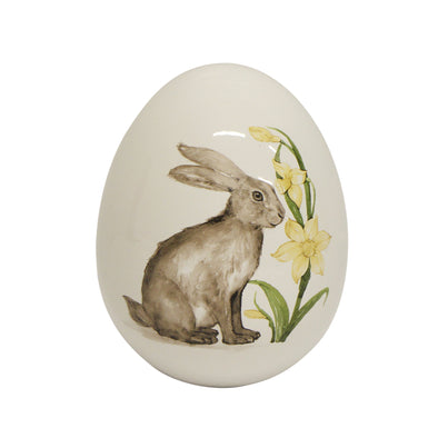 Large Rabbit with Flowers Ceramic Egg