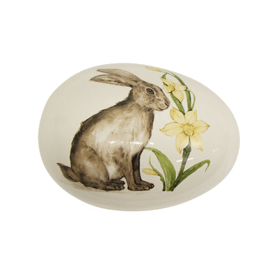 Large Rabbit with Flowers Ceramic Box