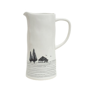 Large Engraved Ceramic Jug