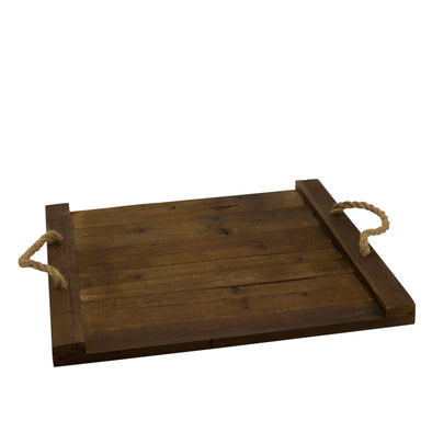 Wide rustic wooden tray with rope handles