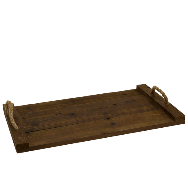 Wide narrow wooden tray with rope handles