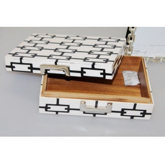 Small Ivory and Black Links Buckle Box