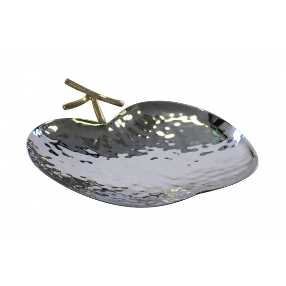 Stainless Steel Apple Dish with Gold Stem