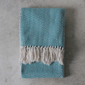 Barkot Twill Throw - Teal - 125 x 150cm