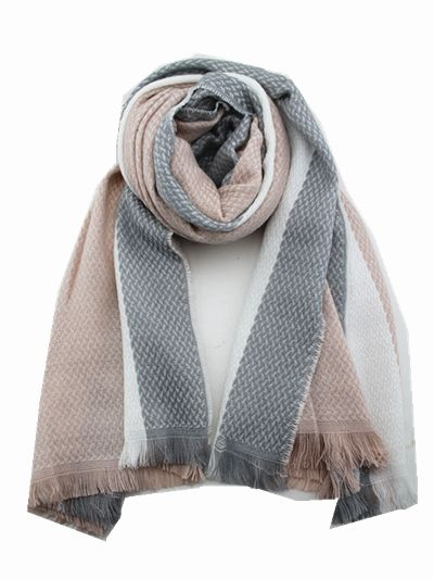 Pink Grey and White Knitted Winter Scarf