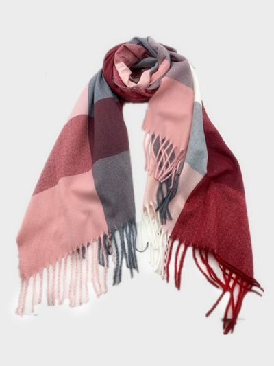 Pink Red & Grey Plaid Cashmere Shawl Wrap