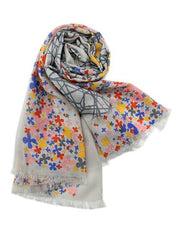100% Woolen Scarf and Shawl with Flowers