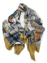 Mustard & Grey Cotton Scarf