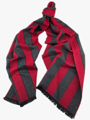 Double sided Red and Charcoal Stripe Cashmere Scarf