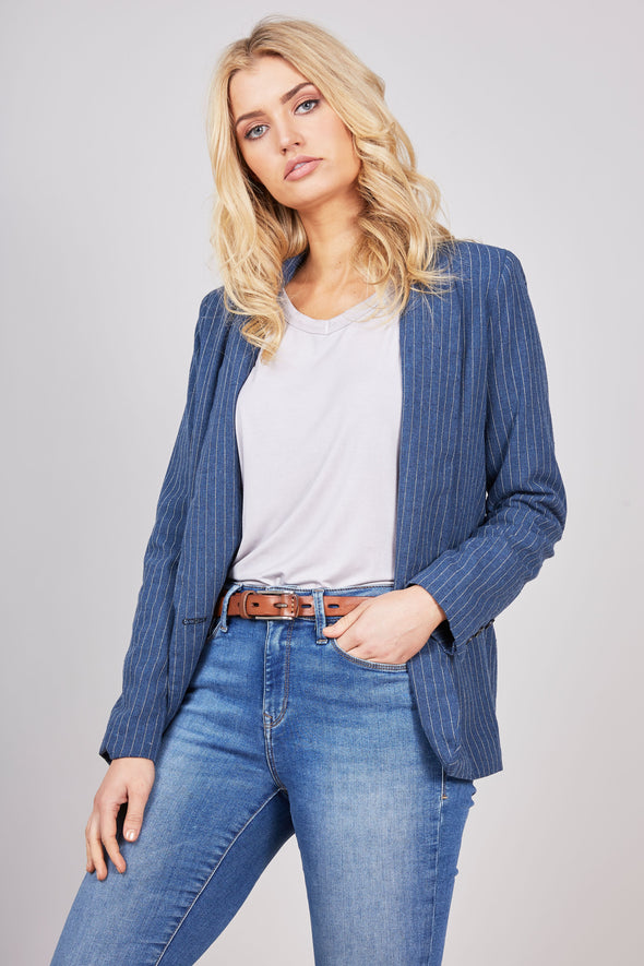 Faraway Blazer - Denim Stripe by Brave & True