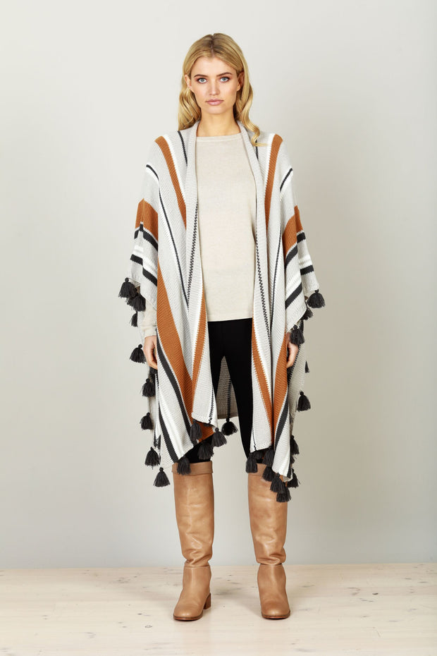 Prarie Poncho - Terracotta Stripe by Brave & True