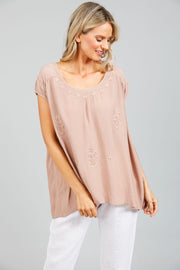 Margot Top - Bisque Moss Crepe