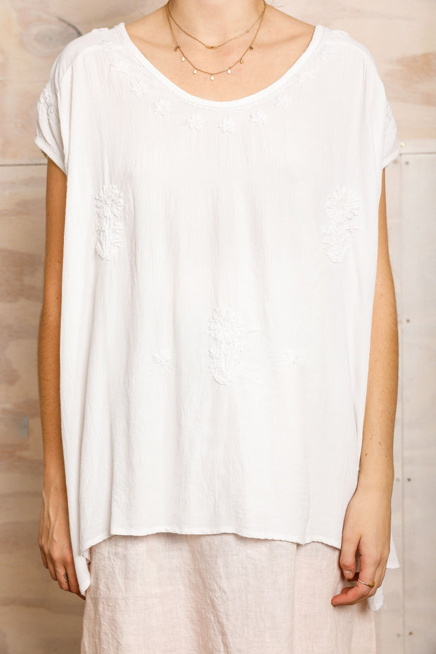 Holiday Margot Top - White Moss Crepe