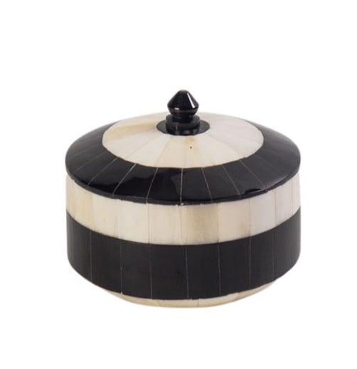 Black & White Round Bone Box
