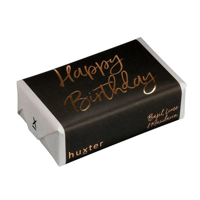 'Happy Birthday' - Grey - Rose Gold Foil Wrapped Fragranced Soap by Huxter