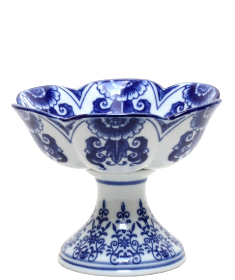 Blue & White Footed Compote