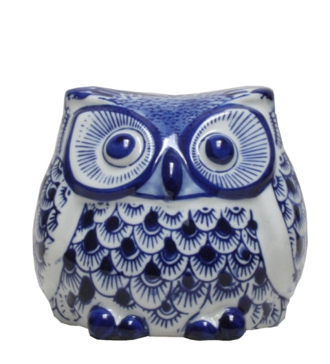Blue & White Ceramic Ming Owl