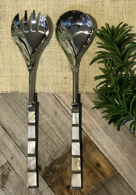 Mother of Pearl Silver Salad Servers