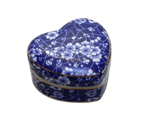 Blue & White Heart Blossom Trinket Box