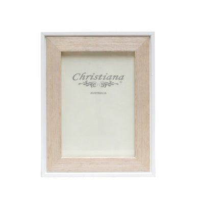 Natural Wood and White Photo Frame 13cm x 18cm