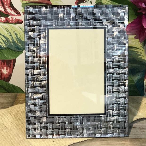 Glass Photo Frame with Woven Silver Design