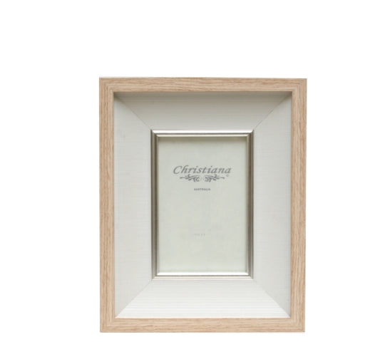 Wood and Beige Woven Phtoto Frame