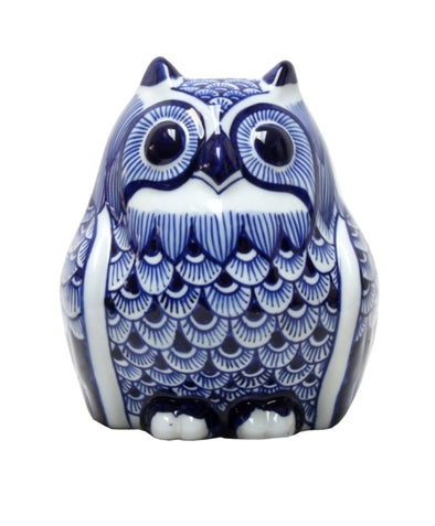 Blue & White Ceramic Owl
